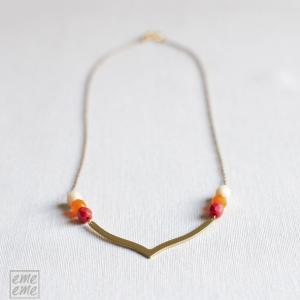 Orange V Necklace - Art Deco neckla..